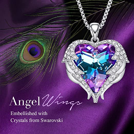 CDE Angle Wing Love Heart Necklaces for Women Purple (Brass)