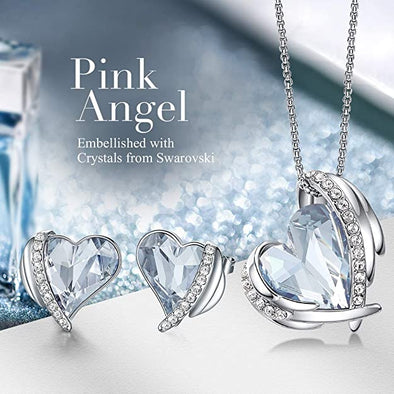 CDE Women  Love Heart Necklaces and Earrings Jewelry Set White Gold | Blue