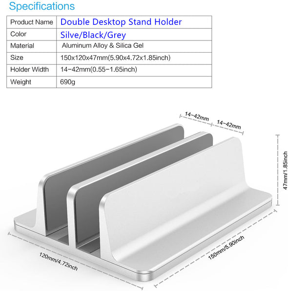 Double Desktop Stand Holder with Adjustable Dock