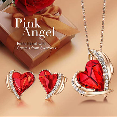 CDE Women  Love Heart Necklaces and Earrings Jewelry Set Rose Gold | Red