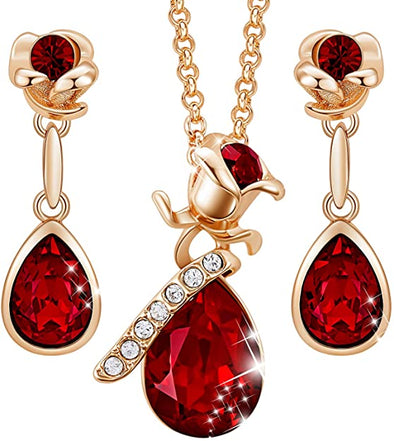 CDE Women Rose Flower Necklaces and Earrings Jewelry Set Rose Gold | Red