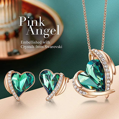 CDE Women  Love Heart Necklaces and Earrings Jewelry Set Rose Gold | Green