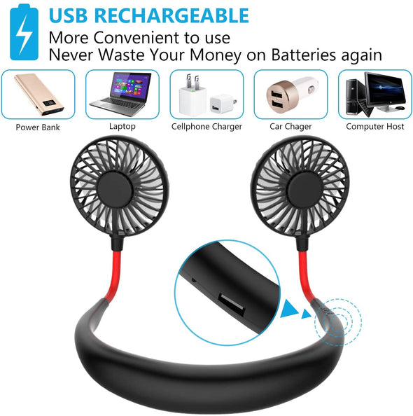 Rechargeable Hands Free Portable Neck Fan with 3 Level Air Flow
