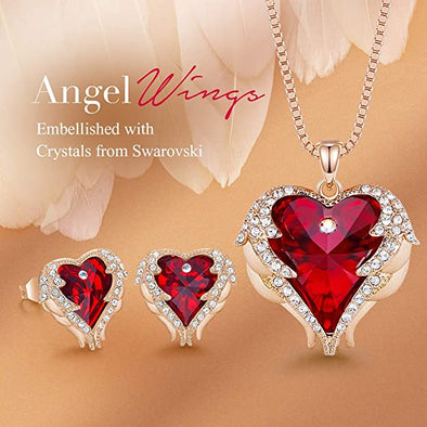 CDE Angle Wing Love Heart Necklaces and Earrings Jewelry Set Rose Gold | Red