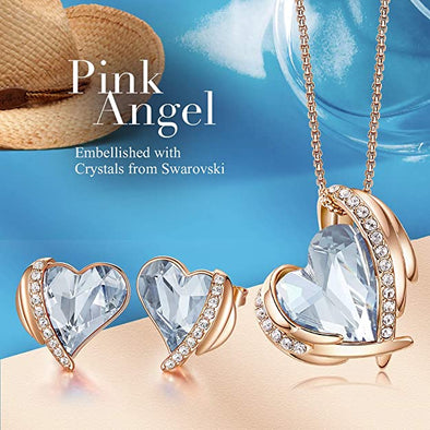 CDE Women  Love Heart Necklaces and Earrings Jewelry Set Rose Gold | Azure blue