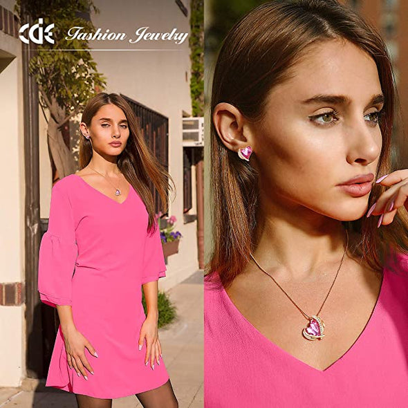 CDE Love Heart Pendant Necklaces for Women Rose Gold | Pink