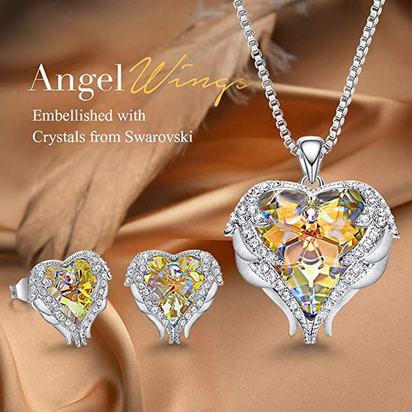 CDE Angle Wing Love Heart Necklaces and Earrings Jewelry Set White Gold | Yellow