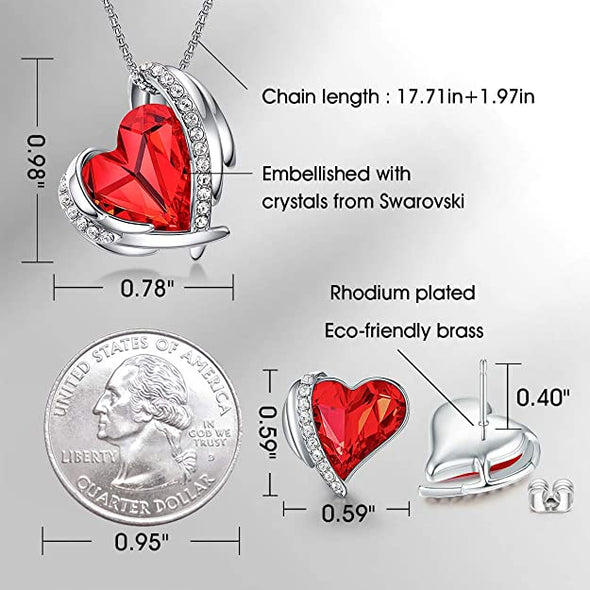 CDE Women  Love Heart Necklaces and Earrings Jewelry Set White Gold | Red