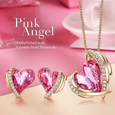 CDE Women  Love Heart Necklaces and Earrings Jewelry Set Rose Gold | Pink