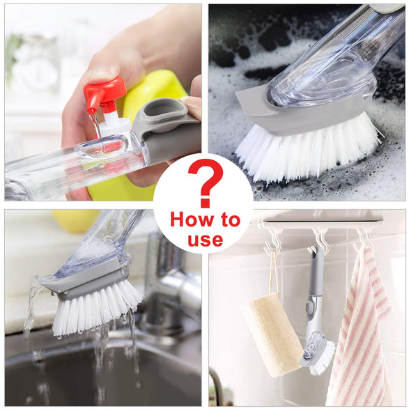 Automatic Soap Dispensing Dish Brush with Replacement Head (1 Bristles +3 Sponge Heads)