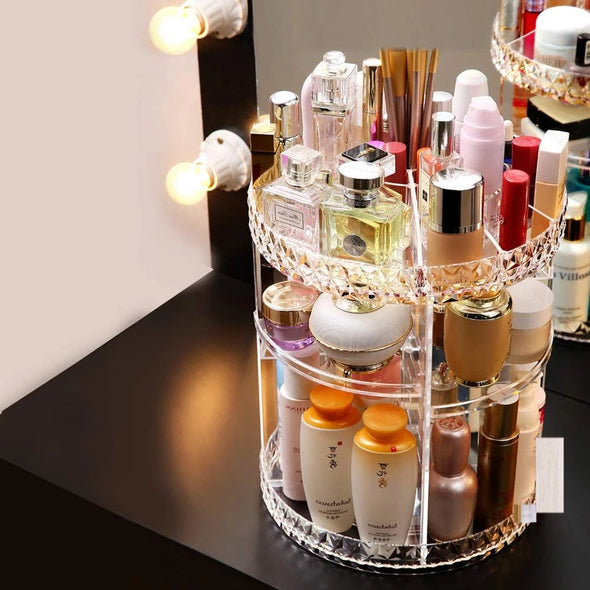 360-Degree  Rotating Transparent Acrylic Makeup Organzier