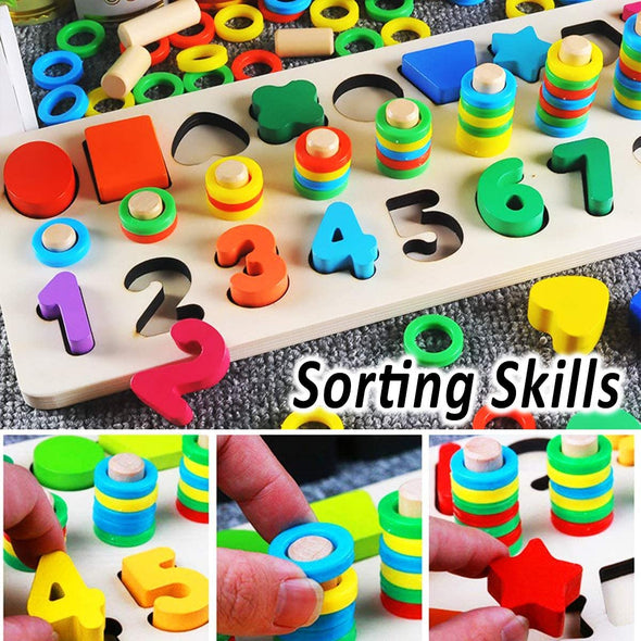 Wooden Number Puzzle Sorting Toys for Toddlers