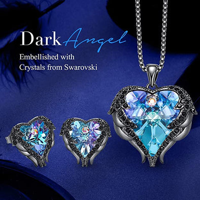 CDE Angle Wing Love Heart Necklaces and Earrings Jewelry Set Gun Black | Purple