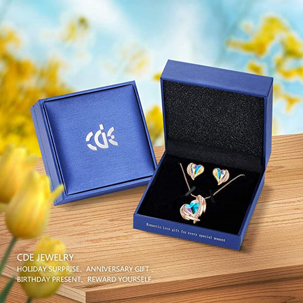 CDE Women  Love Heart Necklaces and Earrings Jewelry Set White Gold | Colorful
