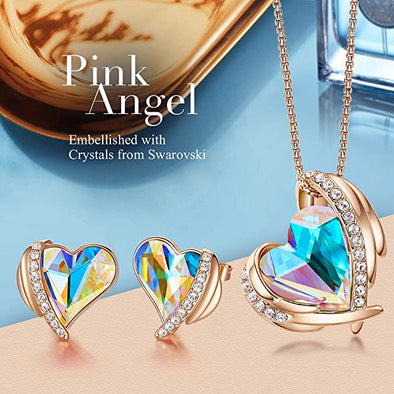 CDE Women  Love Heart Necklaces and Earrings Jewelry Set Rose Gold | Colorful