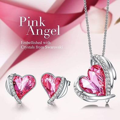CDE Women  Love Heart Necklaces and Earrings Jewelry Set White Gold | Pink