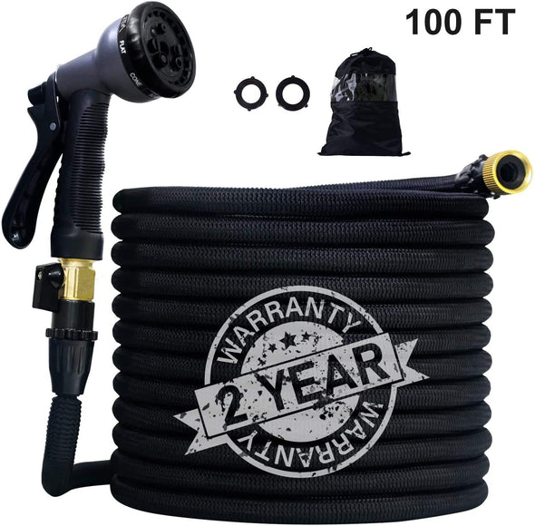 "100ft Expandable Garden Hose with Triple Latex Core+On/Off Valve+3/4"" Connectors+8 Pattern Spray and Storage Sack"