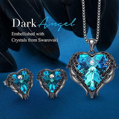 CDE Angle Wing Love Heart Necklaces and Earrings Jewelry Set Gun Black | Blue