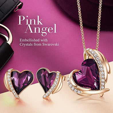 CDE Women  Love Heart Necklaces and Earrings Jewelry Set Rose Gold | Purple