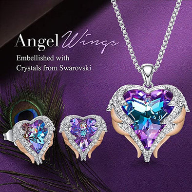 CDE Angle Wing Love Heart Necklaces and Earrings Jewelry Set Rose Gold | Purple