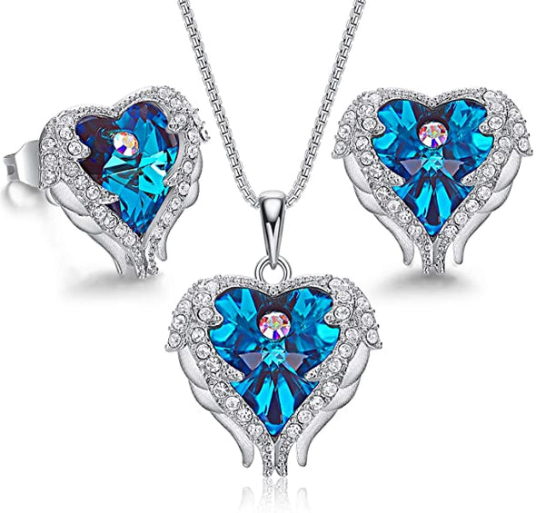 CDE Angle Wing Love Heart Necklaces and Earrings Jewelry Set Sterling Silver | Blue