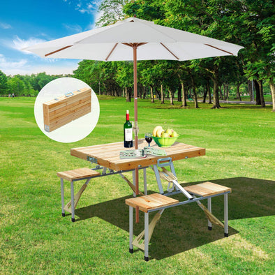 Portable Foldable Camping Picnic Table with Seats Chairs and Umbrella Hole-Wood