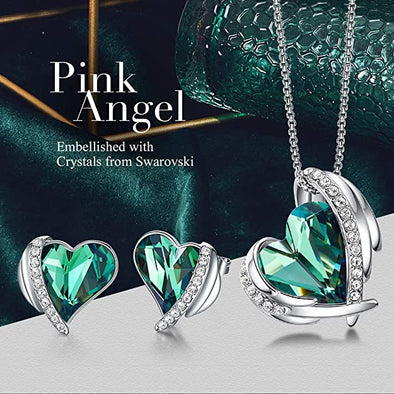 CDE Women  Love Heart Necklaces and Earrings Jewelry Set White Gold | Green