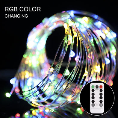Remote Control 8 Modes 100 LEDs Copper Wire String Lights [Energy Class A++]
