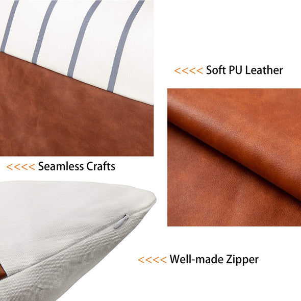 Faux Leather Throw Pillow Covers 18x18 Inch/45x45 CM Set of 4