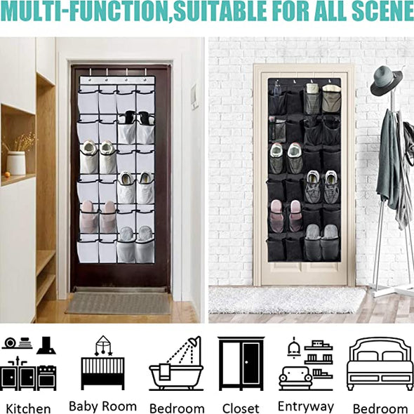 2 Pack Over the Door Shoe Organizers with 24 Durable Large Thickened Mesh Pockets for Closet Bathroom Bedroom Pantry