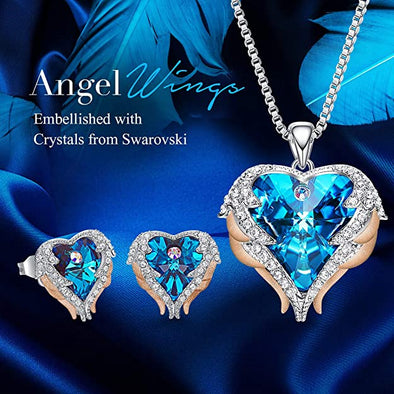 CDE Angle Wing Love Heart Necklaces and Earrings Jewelry Set Rose Gold | Blue