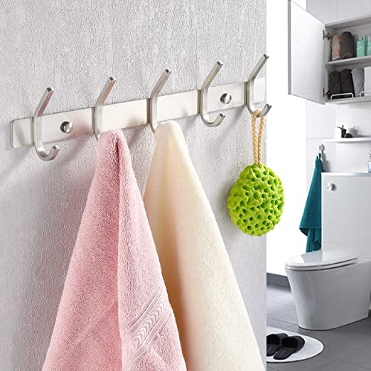 3-5 Hook  Wall Mounted Stainless Steel Coat Rack