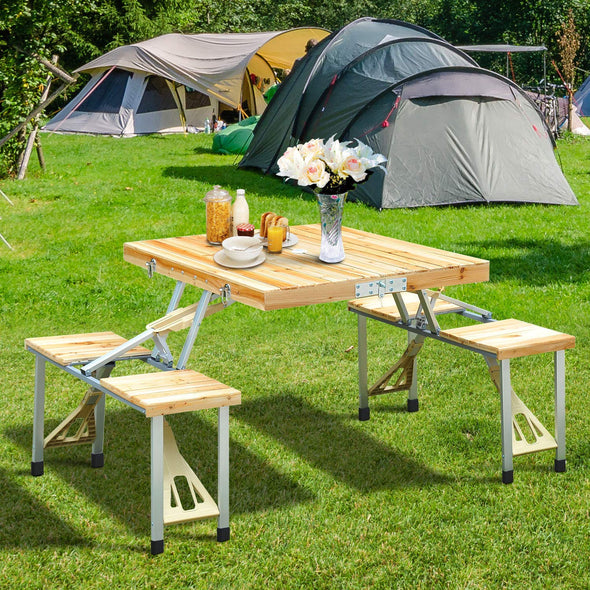 Aluminium Alloy Outdoor Camping Picnic Table Integrated Folding Table and Chair