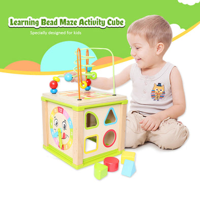 Multifunctional Wooden Activity Cube