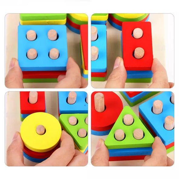 Baby Toys Educational Colorful Wooden Geometric Sorting Board