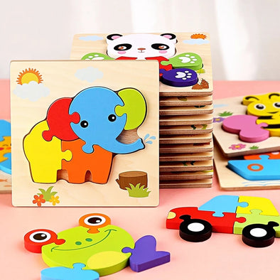 Wooden Jigsaw Puzzle Animal Shape Color Toy