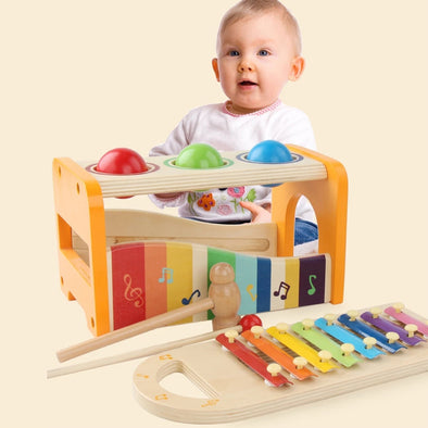 Wooden Toddler Pounding Toy Educational Musical Xylophone