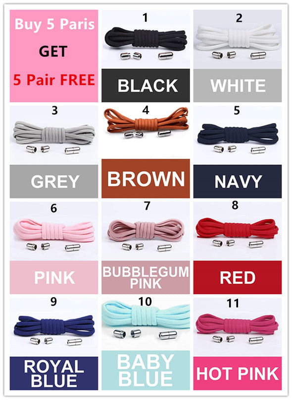 Elastic No Tie Shoelaces for Kids Adults Sneakers Shoes(buy 5 pairs get 5 pairs free)