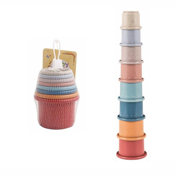Wheat Straw Hourglass Stacking Cup Toy