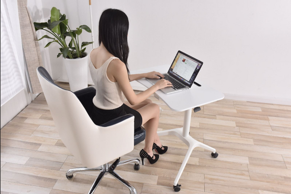 Pneumatic single leg sit to stand desk height adjustable workstation