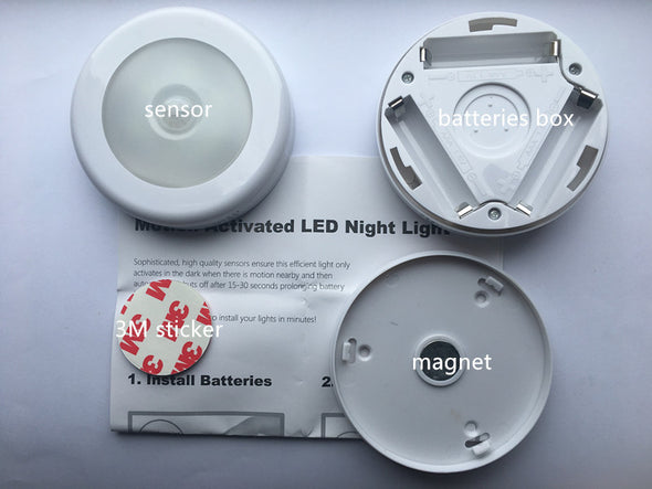 Motion Sensor Light, Cordless Battery-Powered LED Night Light(White - Pack of 3)