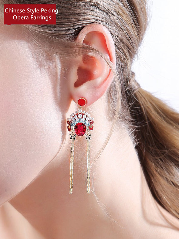 Chinese Style Peking Opera Necklace Facial Earrings Asymmetrical Tassel Earrings
