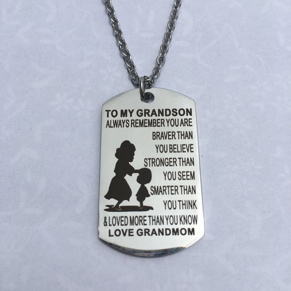 Stainless Steel Military Dog Tags Necklace For Kids/Grandkid