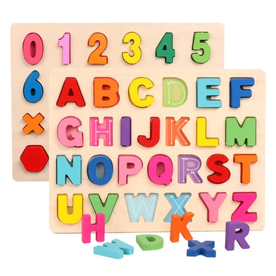 Wooden Alphabet Number Puzzle Toy