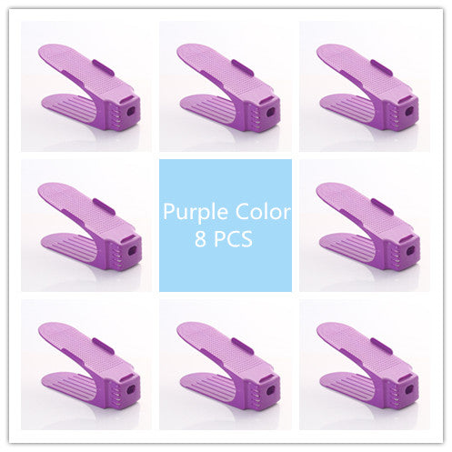 8 PCS Adjustable 50% Space-Saving Multi-Color Plastic Shoes Storage Rack