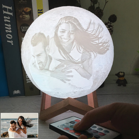 Photo Custom Personality 3D Print Moon Lamp