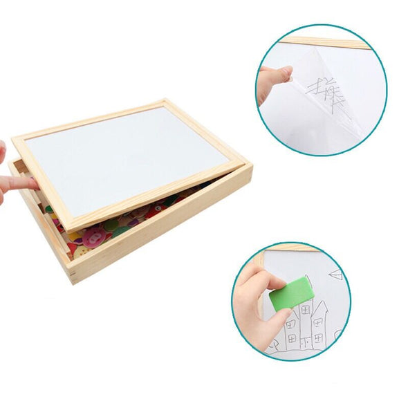Wooden Kids Educational Toys Magnetic Easel Double Side Dry Erase Board