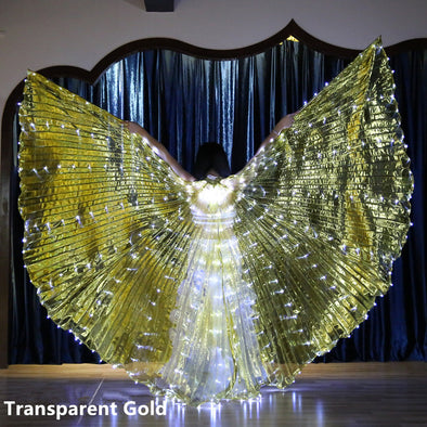 Belly Dance LED Angel Isis Wings with Flexible Sticks-For Adults