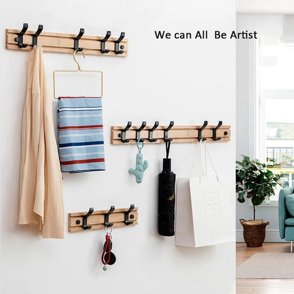 Wall Mounted Bamboo Wooden Removable Hooks Rack