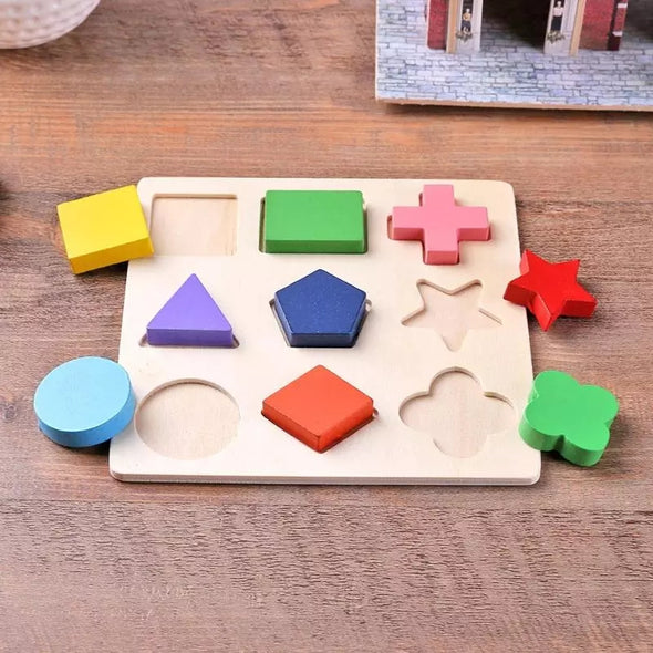 Wooden Geometric Shapes Puzzle Toy